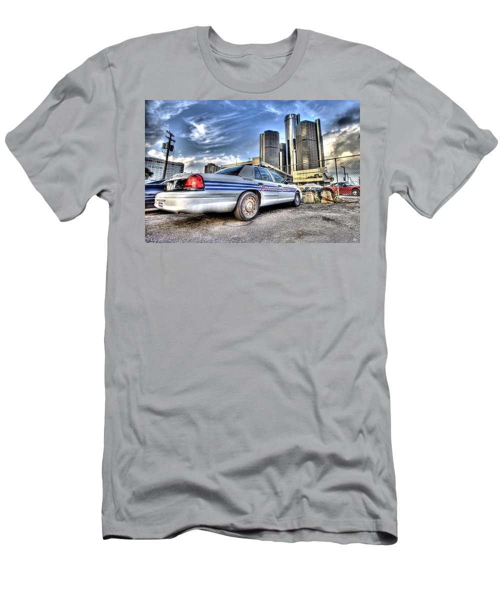 Detroit Police Men's T-Shirt (Athletic Fit) featuring the photograph Detroit Police by Nicholas Grunas