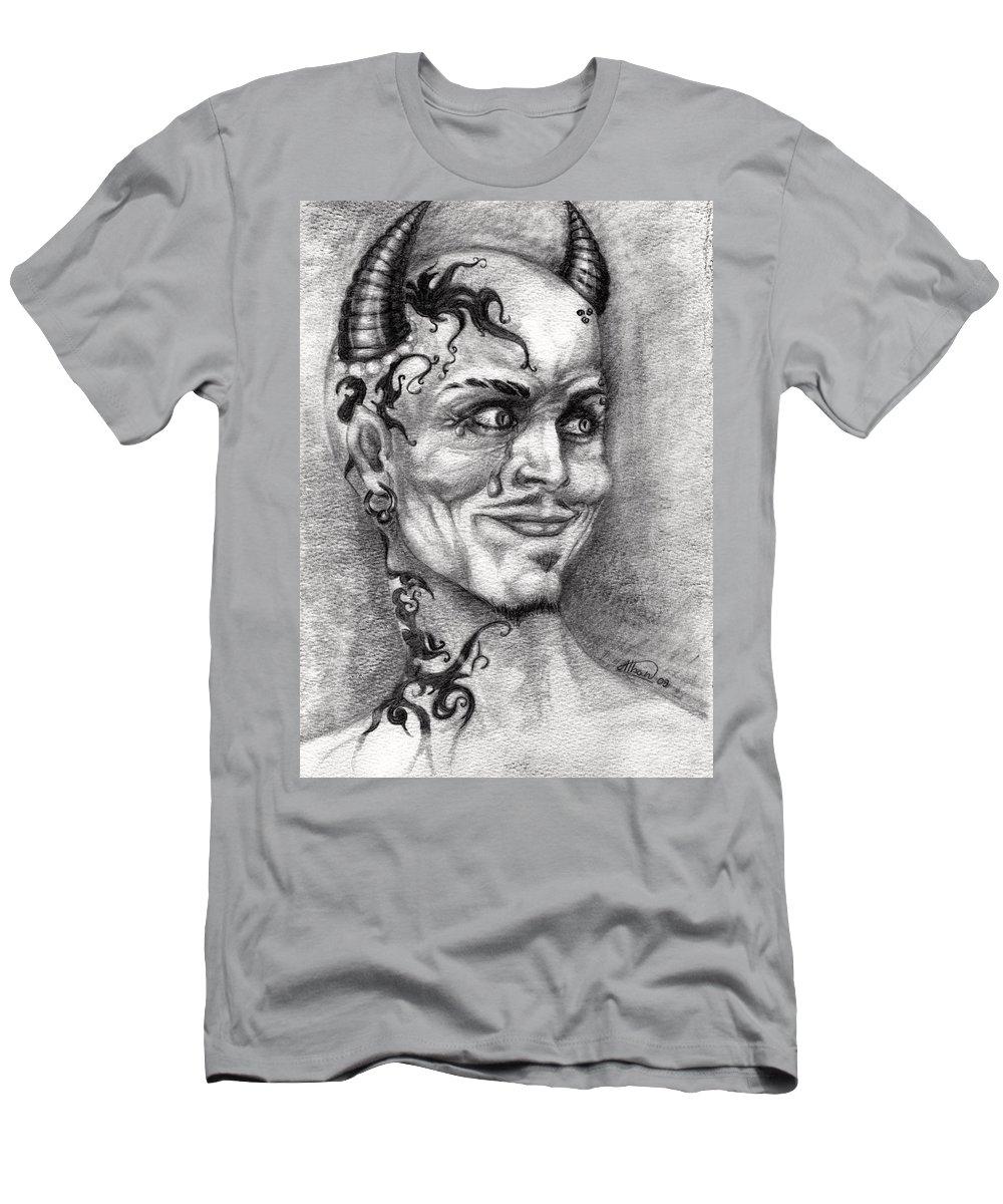 Satan Men's T-Shirt (Athletic Fit) featuring the drawing Devil May Cry by Alban Dizdari