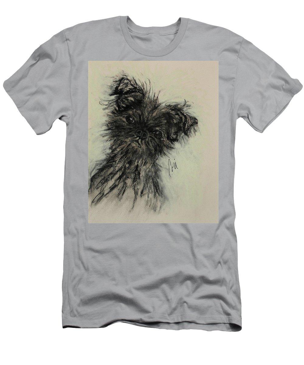 Affenpinscher Men's T-Shirt (Athletic Fit) featuring the drawing Devil Wears Black by Cori Solomon
