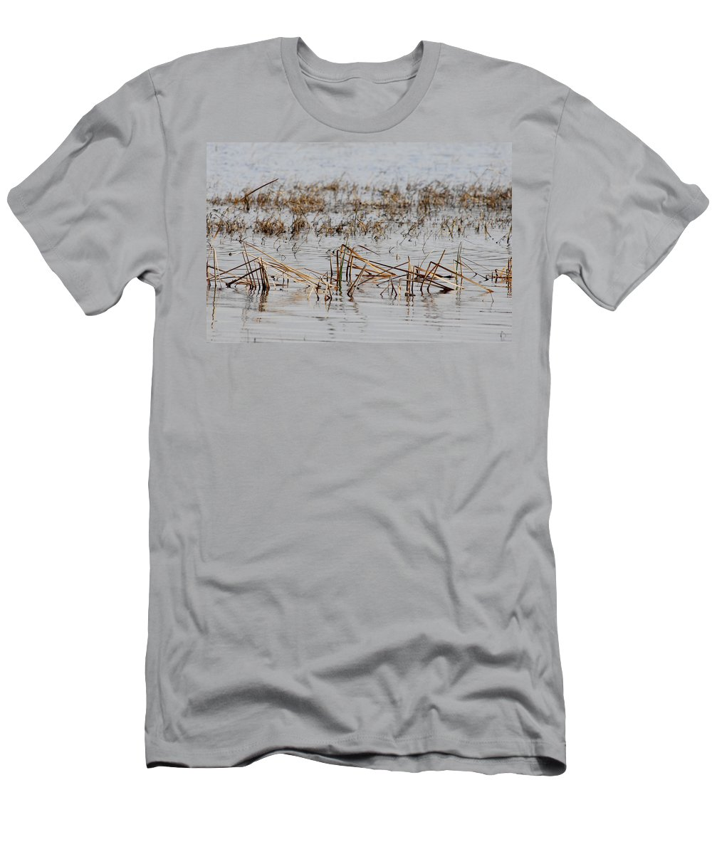 Reeds Men's T-Shirt (Athletic Fit) featuring the photograph Difficult Reeding by Donna Blackhall