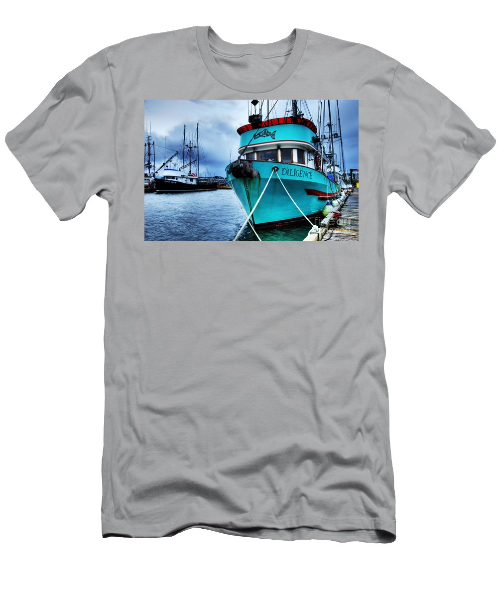 Boats Men's T-Shirt (Athletic Fit) featuring the photograph Diligence by Bob Christopher