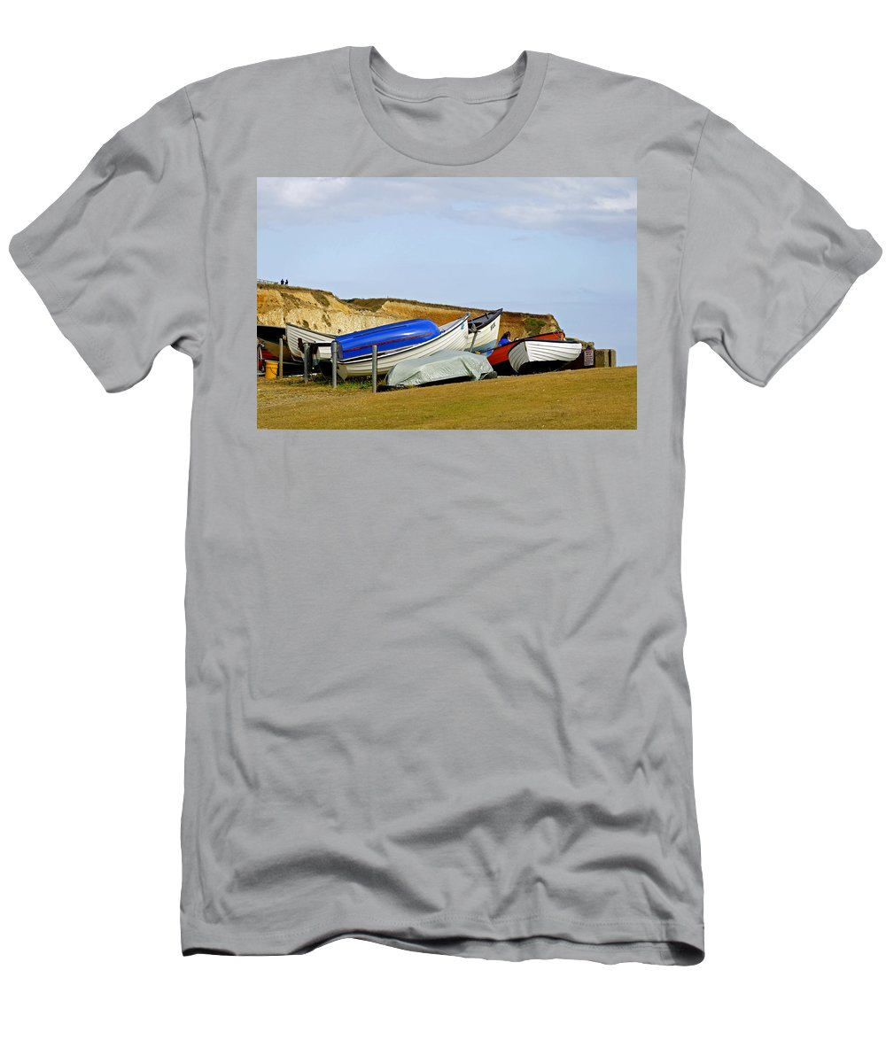 Isle Of Wight Men's T-Shirt (Athletic Fit) featuring the photograph Dinghy Park At Freshwater Bay by Rod Johnson