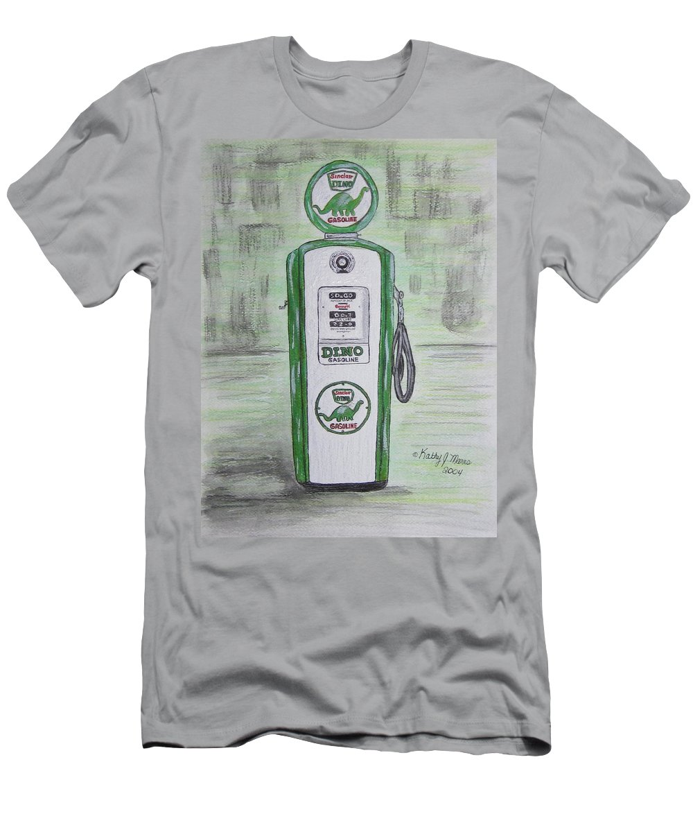 Dino Men's T-Shirt (Athletic Fit) featuring the painting Dino Sinclair Gas Pump by Kathy Marrs Chandler