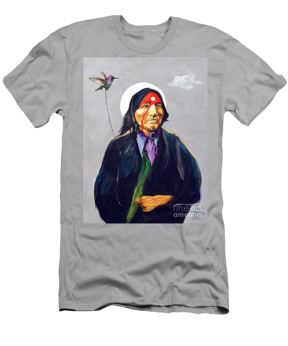 Shaman Men's T-Shirt (Athletic Fit) featuring the painting Direct Connect by J W Baker
