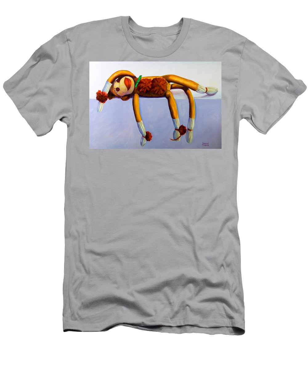 Diva Men's T-Shirt (Athletic Fit) featuring the painting Diva Made Of Sockies by Shannon Grissom