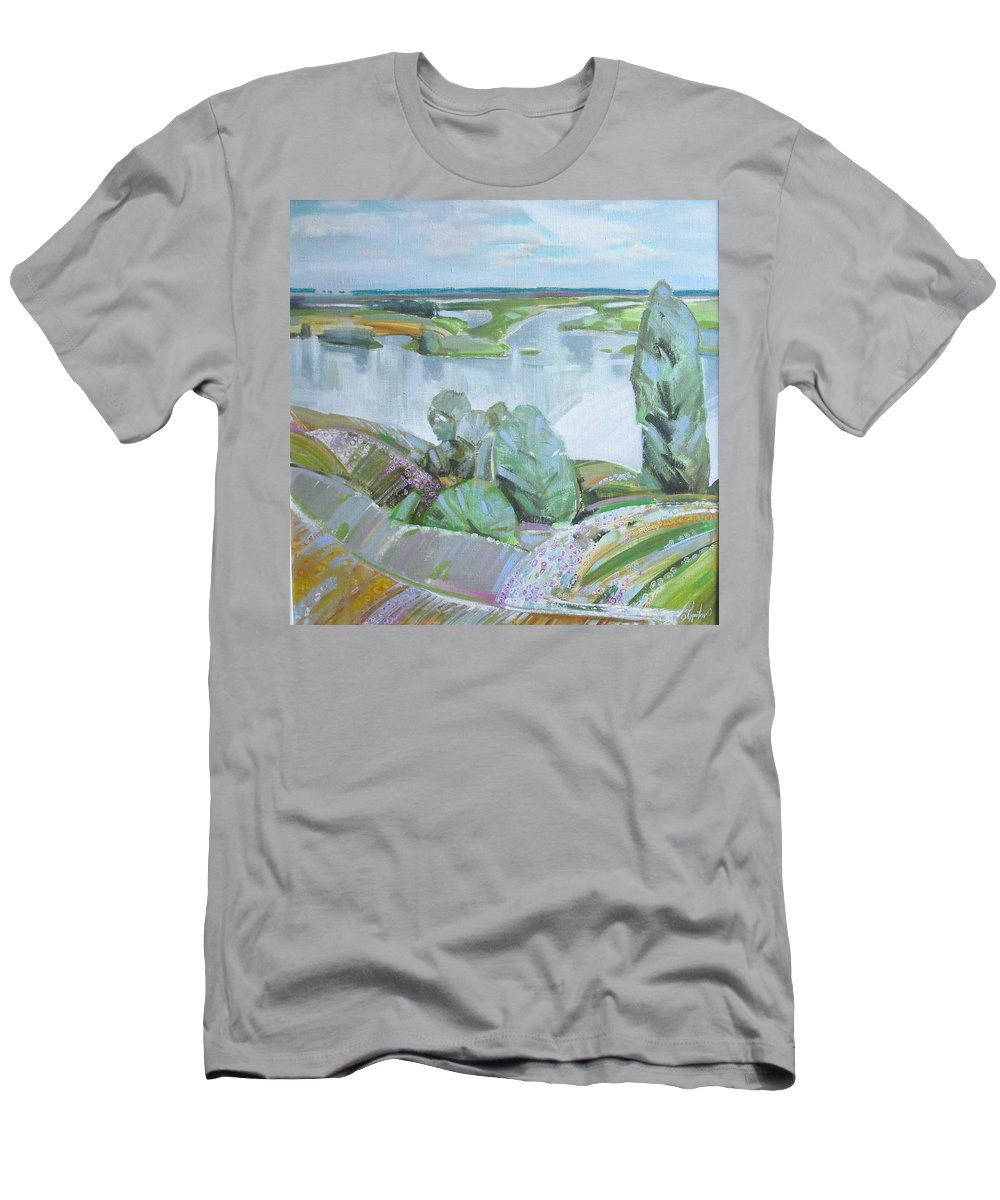 Landscape Men's T-Shirt (Athletic Fit) featuring the painting Dnepro River by Sergey Ignatenko