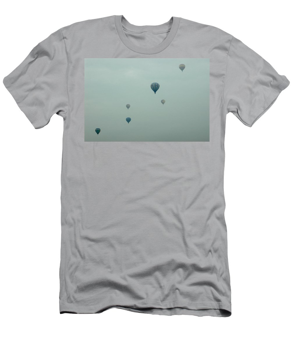 Adirondack Balloon Festival Mist Flight Men's T-Shirt (Athletic Fit) featuring the photograph Dnrg0908 by Henry Butz