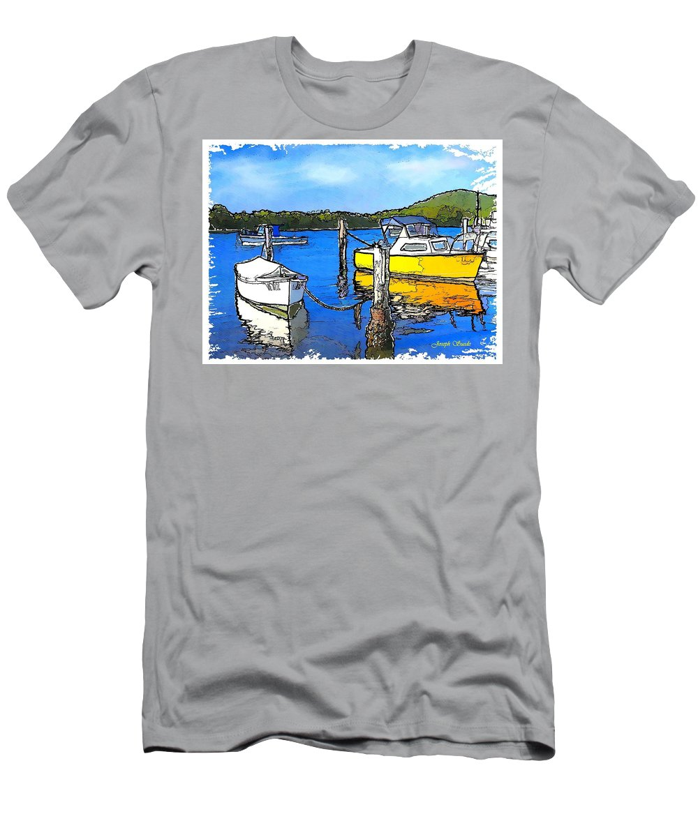 Boats Men's T-Shirt (Athletic Fit) featuring the photograph Do-00147 Resting Boats by Digital Oil