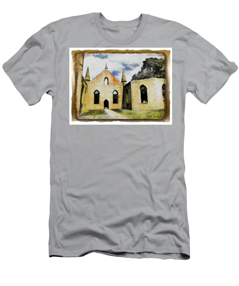 Church Men's T-Shirt (Athletic Fit) featuring the photograph Do-00247 Church At Port Arthur by Digital Oil