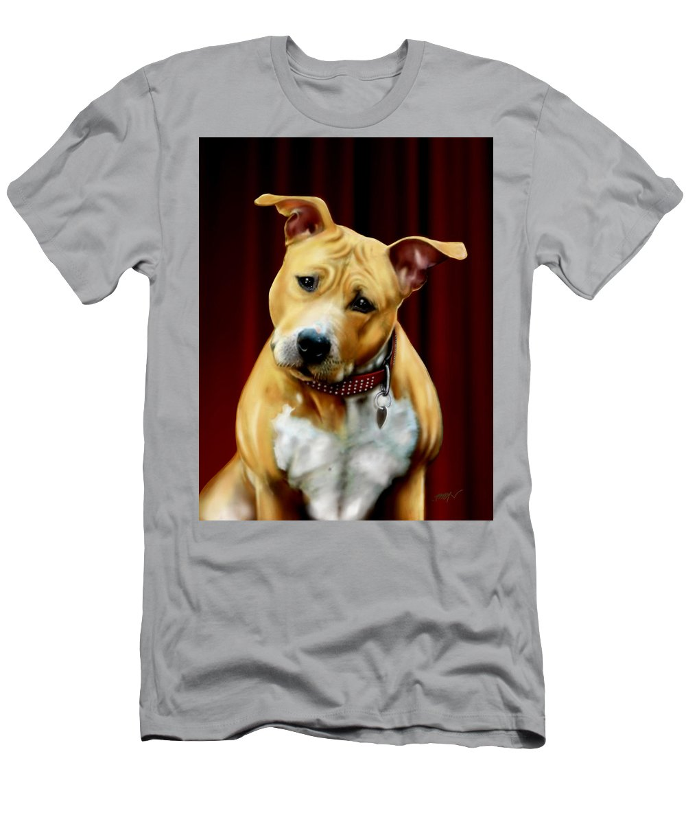 Dog Stafford Men's T-Shirt (Athletic Fit) featuring the painting dog by Faust Vatos
