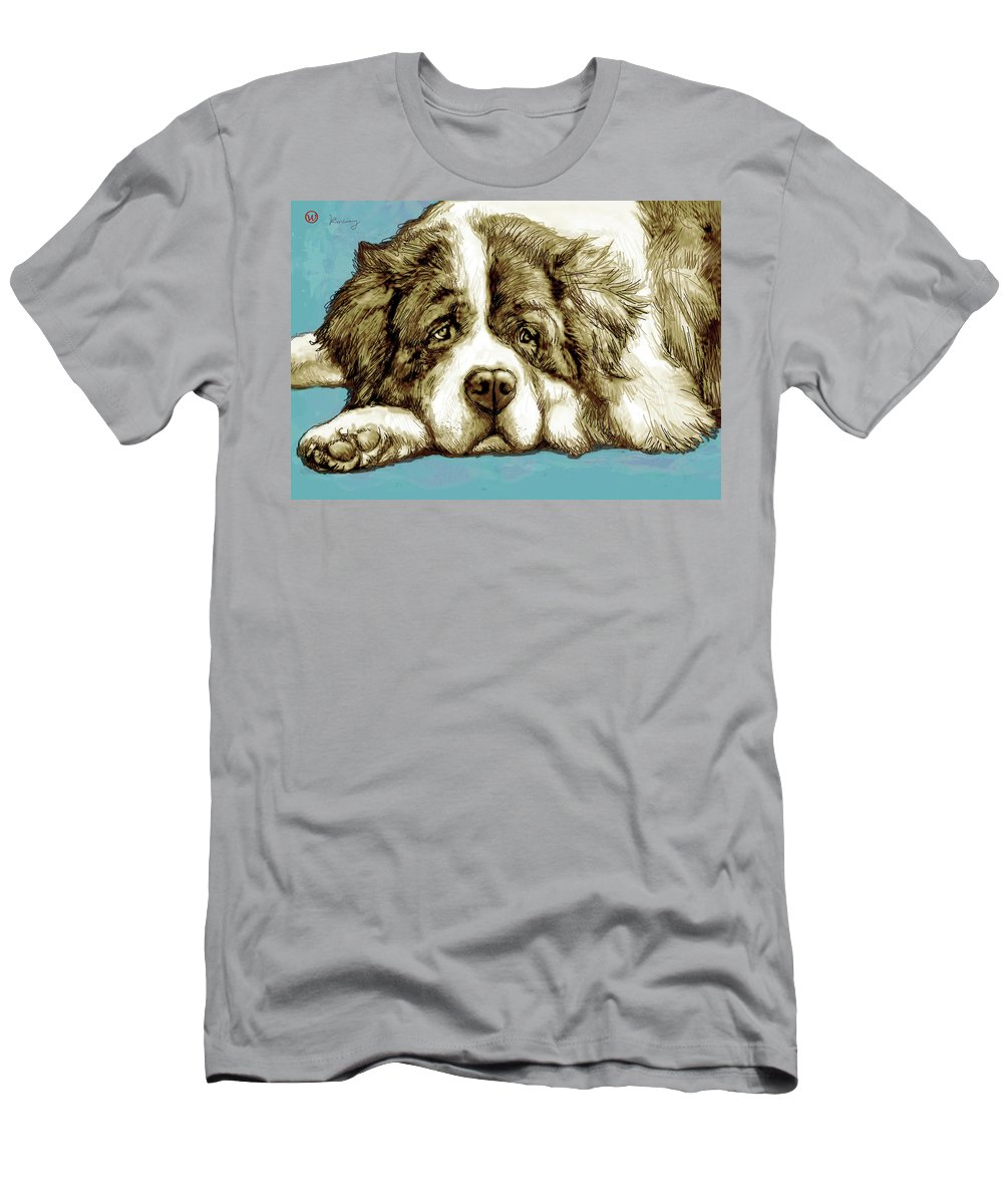 Dog Stylised Pop Morden Art Drawing Sketch Portrait. Pet Men's T-Shirt (Athletic Fit) featuring the mixed media Dog - New Pop Art Poster by Kim Wang