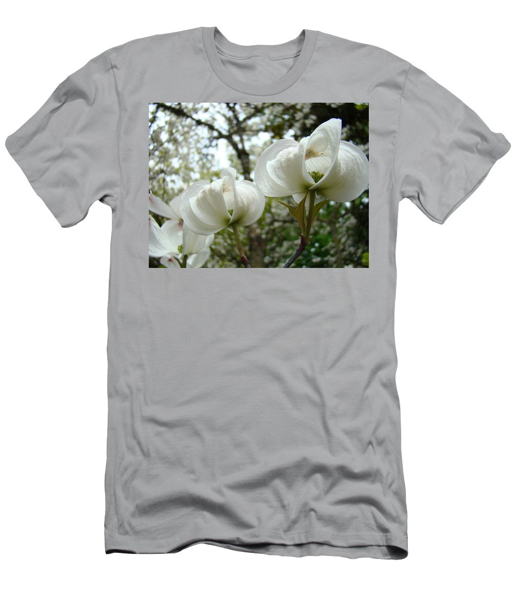 Dogwood Men's T-Shirt (Athletic Fit) featuring the photograph Dogwood Flowers White Dogwood Trees Blossoming 8 Art Prints Baslee Troutman by Baslee Troutman