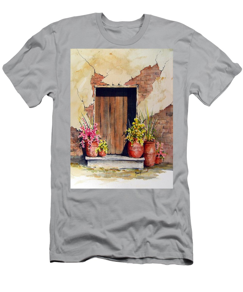 Flowers Men's T-Shirt (Athletic Fit) featuring the painting Door With Pots by Sam Sidders