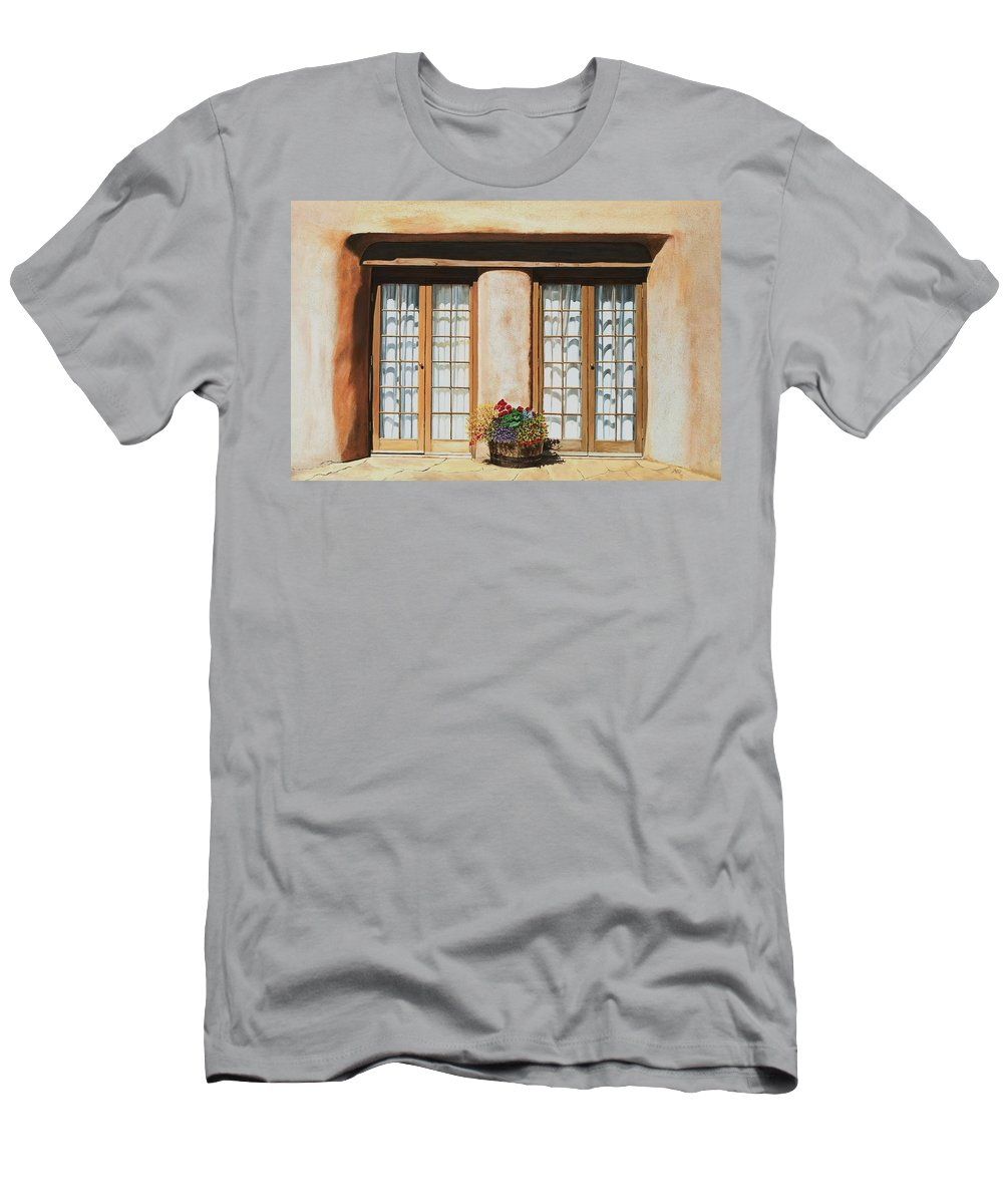 Usa Men's T-Shirt (Athletic Fit) featuring the painting Doors Of Santa Fe by Mary Rogers