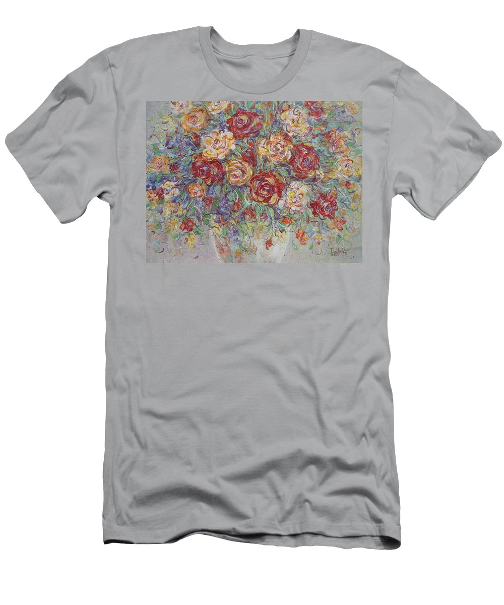 Flowers Men's T-Shirt (Athletic Fit) featuring the painting Double Delight. by Natalie Holland