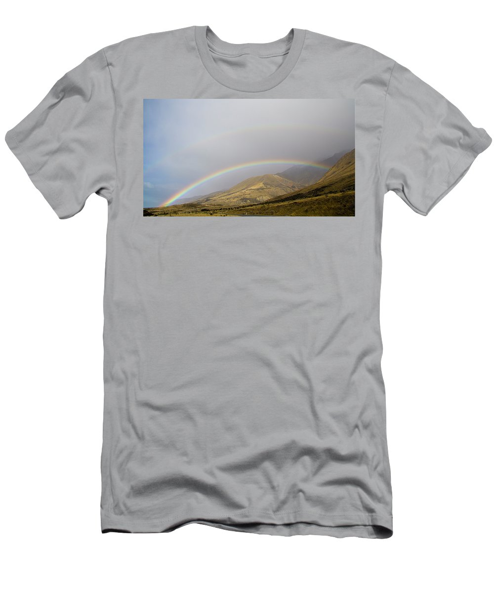 Double Rainbow Men's T-Shirt (Athletic Fit) featuring the photograph Double Rainbow by Carole Lloyd
