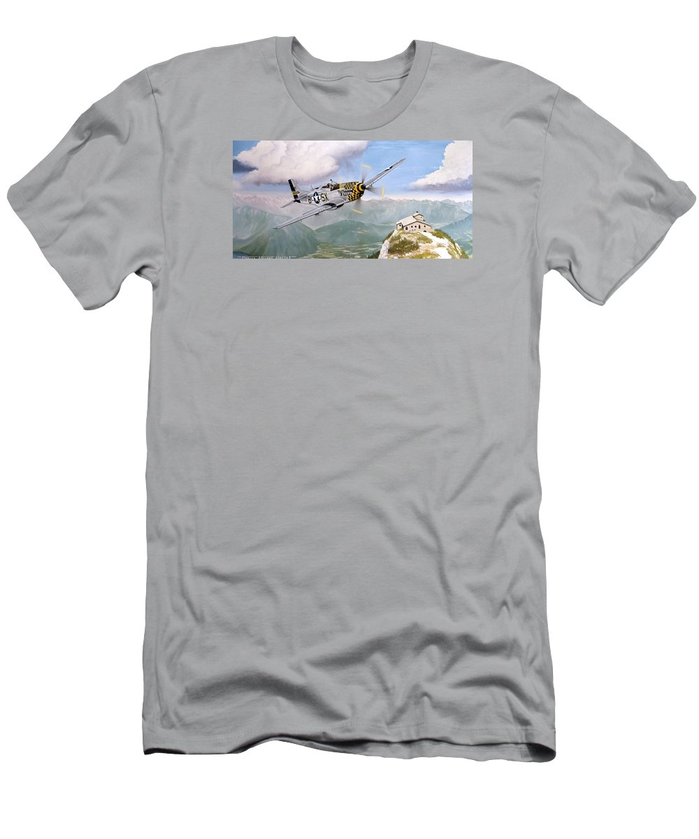 Military Men's T-Shirt (Slim Fit) featuring the painting Double Trouble Over The Eagle by Marc Stewart