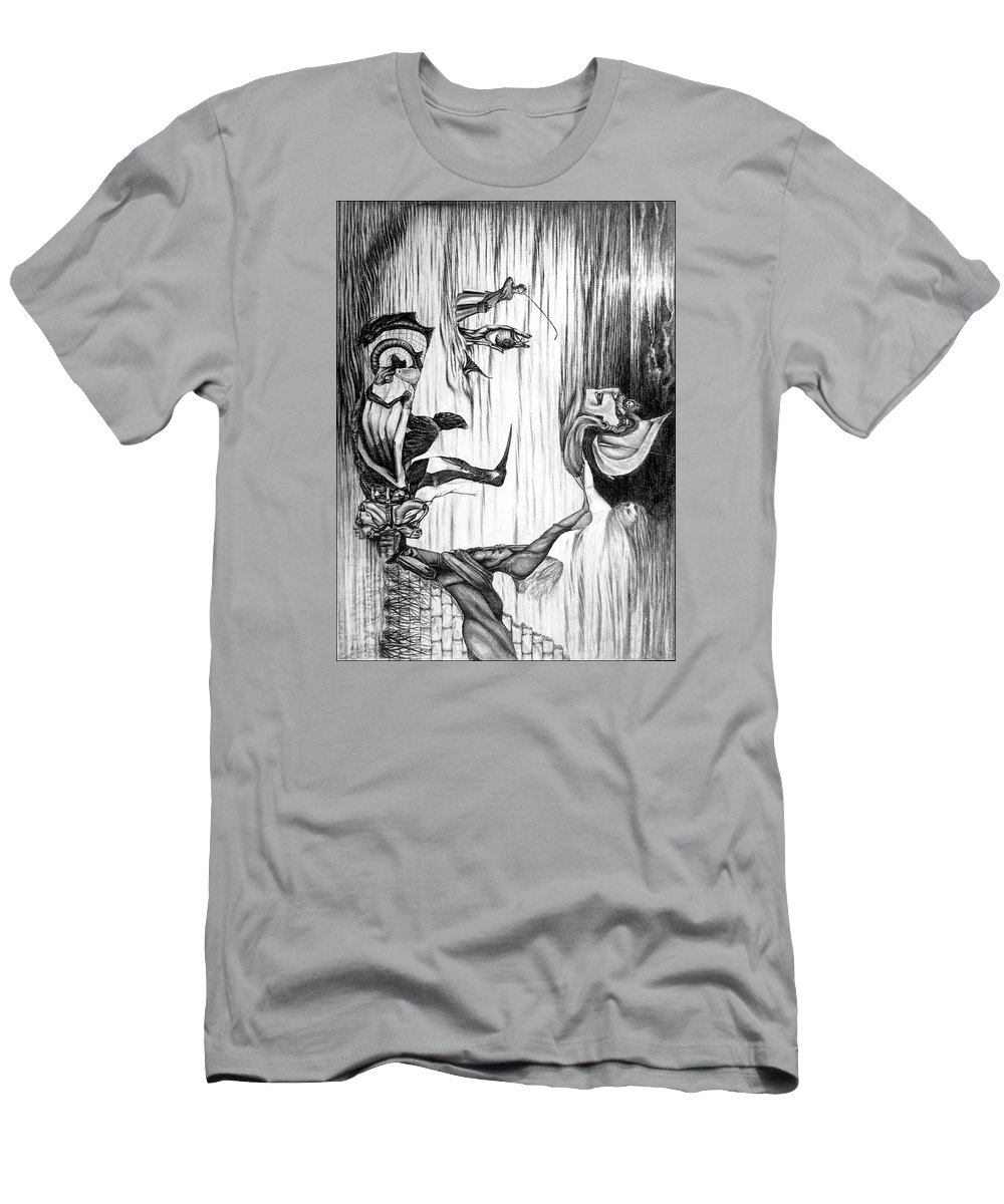 Salvador Dali T-Shirt featuring the drawing Doubly reversible portrait of Salvador Dali by Richard Meric