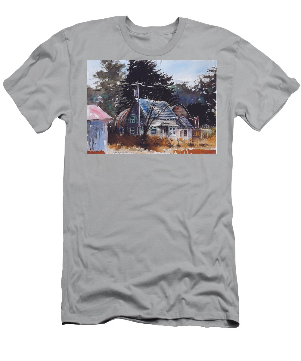 Old House T-Shirt featuring the painting Down by the Swamp by Ron Morrison