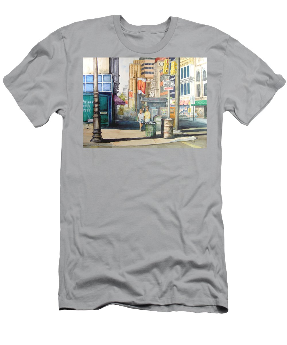 City Men's T-Shirt (Athletic Fit) featuring the painting Downtown by Sam Sidders