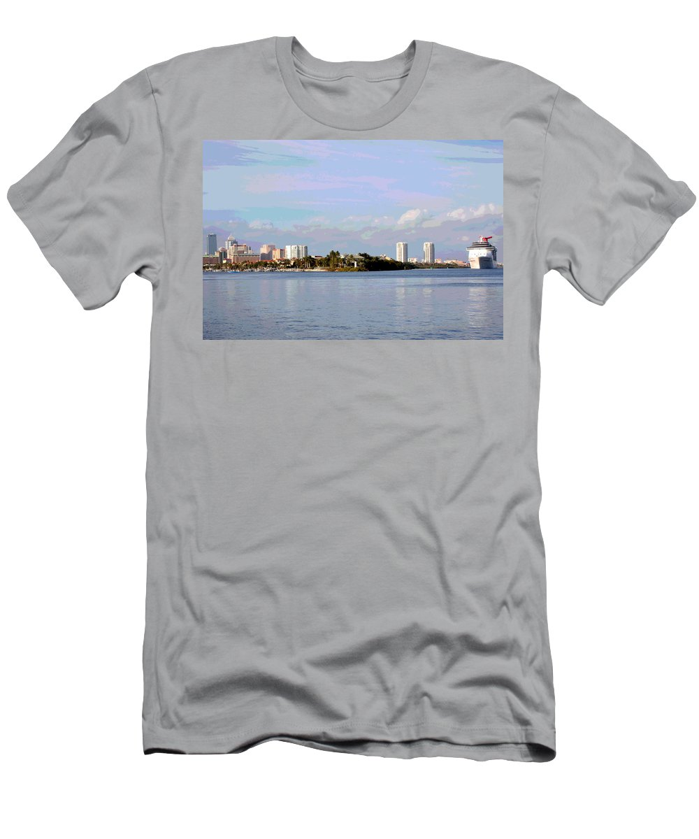 Tampa Men's T-Shirt (Athletic Fit) featuring the photograph Downtown Tampa With Cruise Ship by Carol Groenen