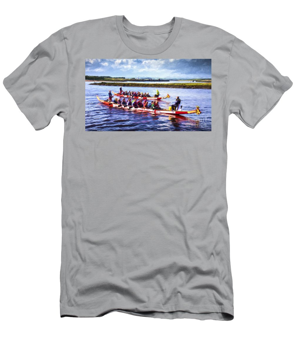 Dragon Boats Men's T-Shirt (Athletic Fit) featuring the digital art Dragon Boats by Liz Leyden