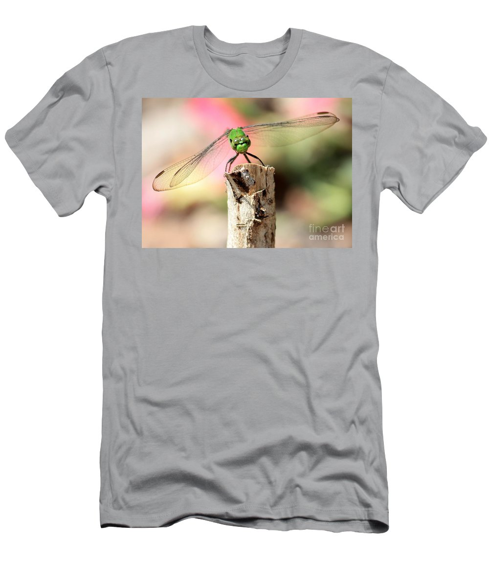 Dragonfly Men's T-Shirt (Athletic Fit) featuring the photograph Dragonfly In The Petunias by Carol Groenen
