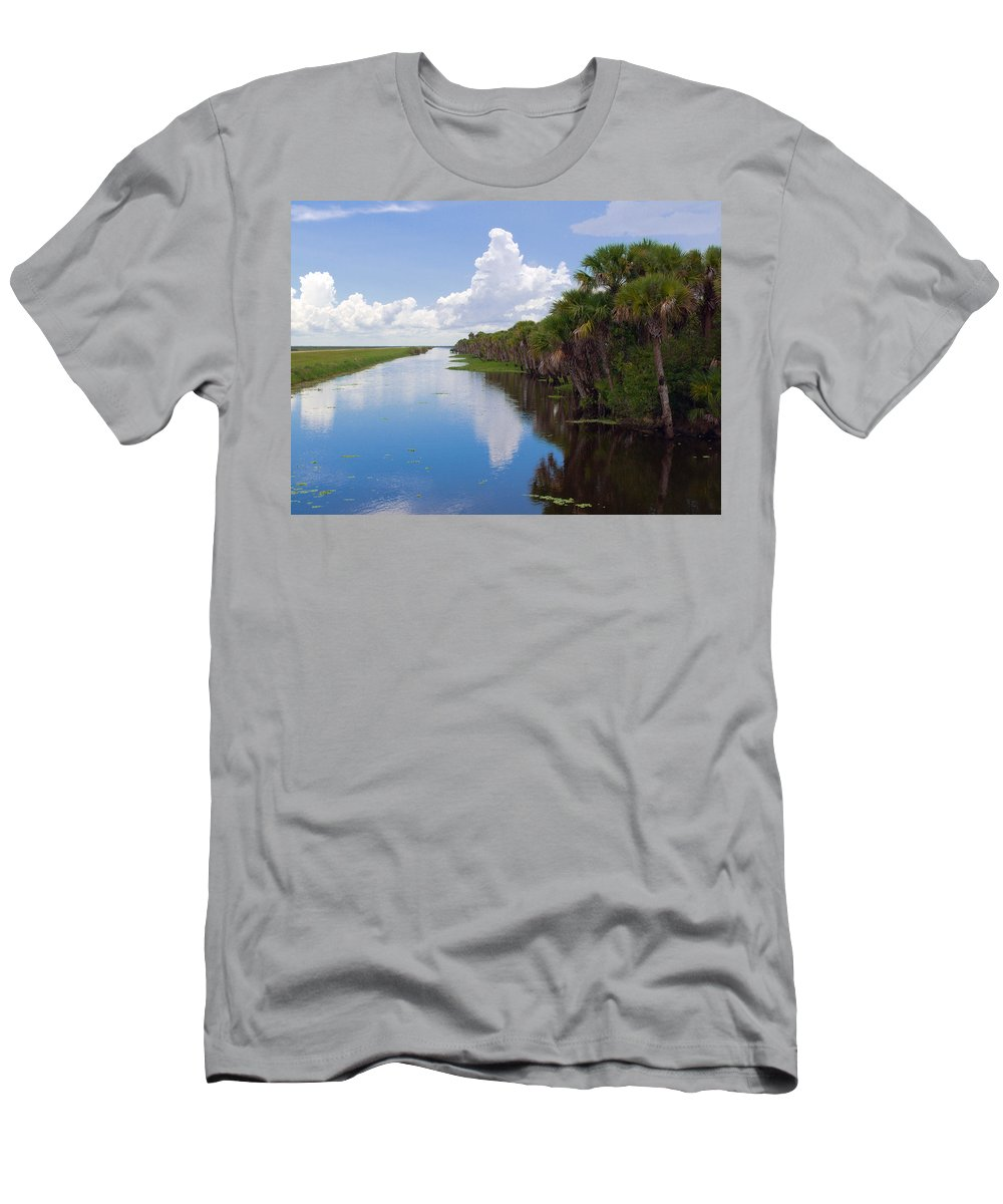 Florida; Water; Canal; Stick; Marsh; Drowned; Trees; Drown; Fellsmere; Sebastian; River; Indian; Clo Men's T-Shirt (Athletic Fit) featuring the photograph Drainage Canals Make Farming Possible In Florida by Allan Hughes