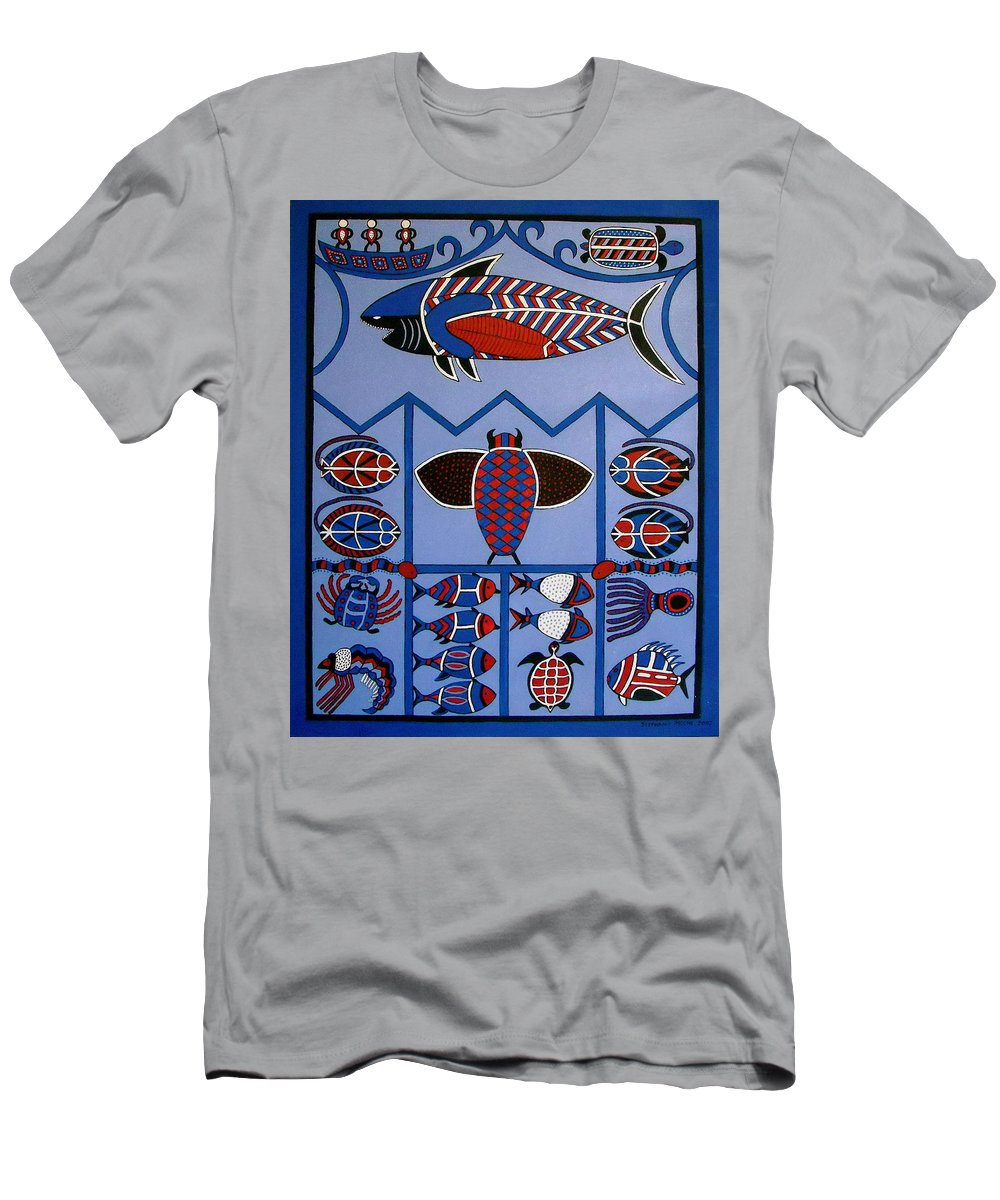 Shark Men's T-Shirt (Athletic Fit) featuring the painting Dreamtime by Stephanie Moore