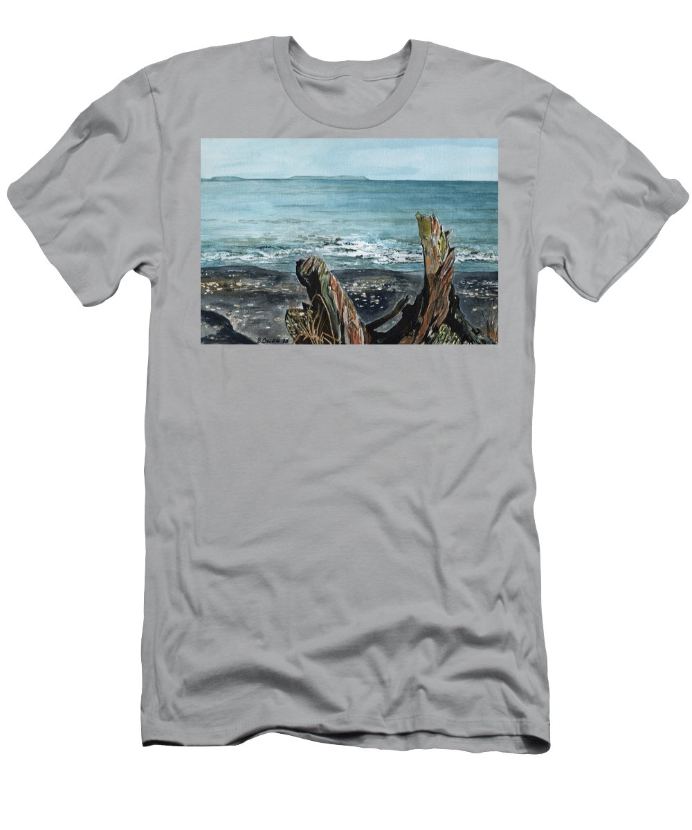 Watercolor Men's T-Shirt (Athletic Fit) featuring the painting Driftwood by Brenda Owen