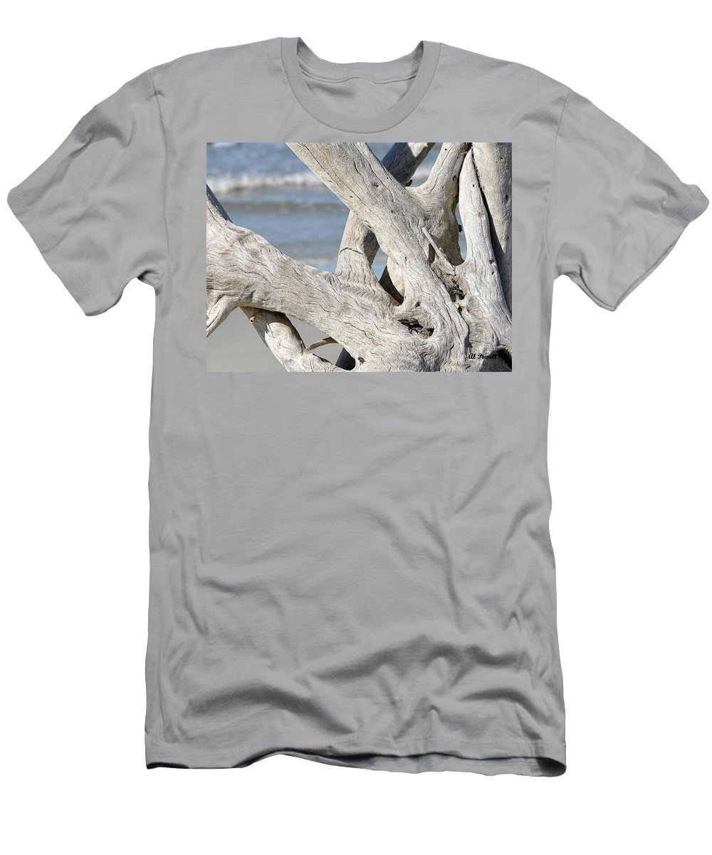 Driftwood Men's T-Shirt (Athletic Fit) featuring the photograph Driftwood Detail by Al Powell Photography USA