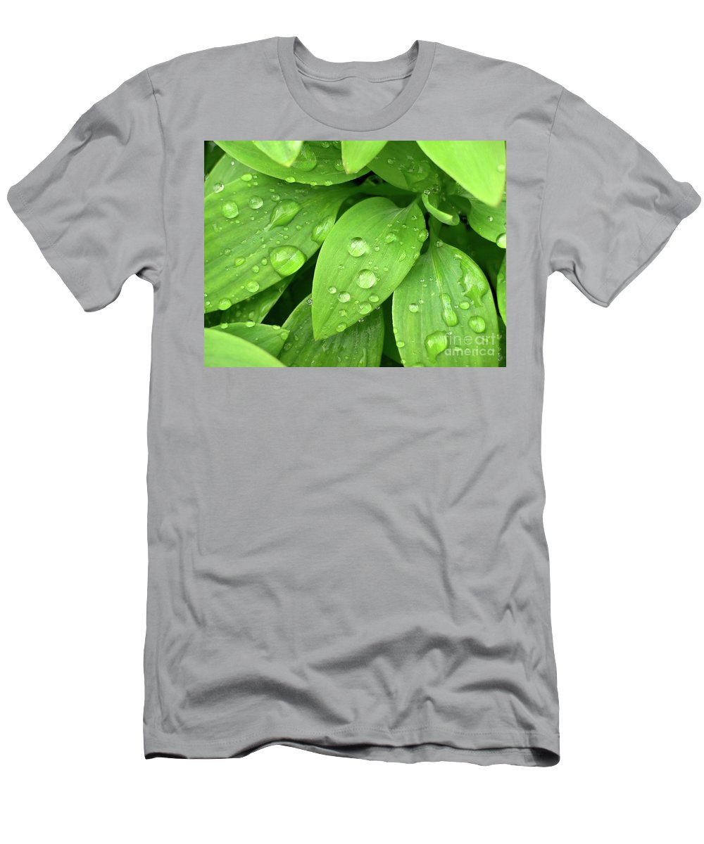 Allergy Men's T-Shirt (Athletic Fit) featuring the photograph Drops On Leaves by Carlos Caetano