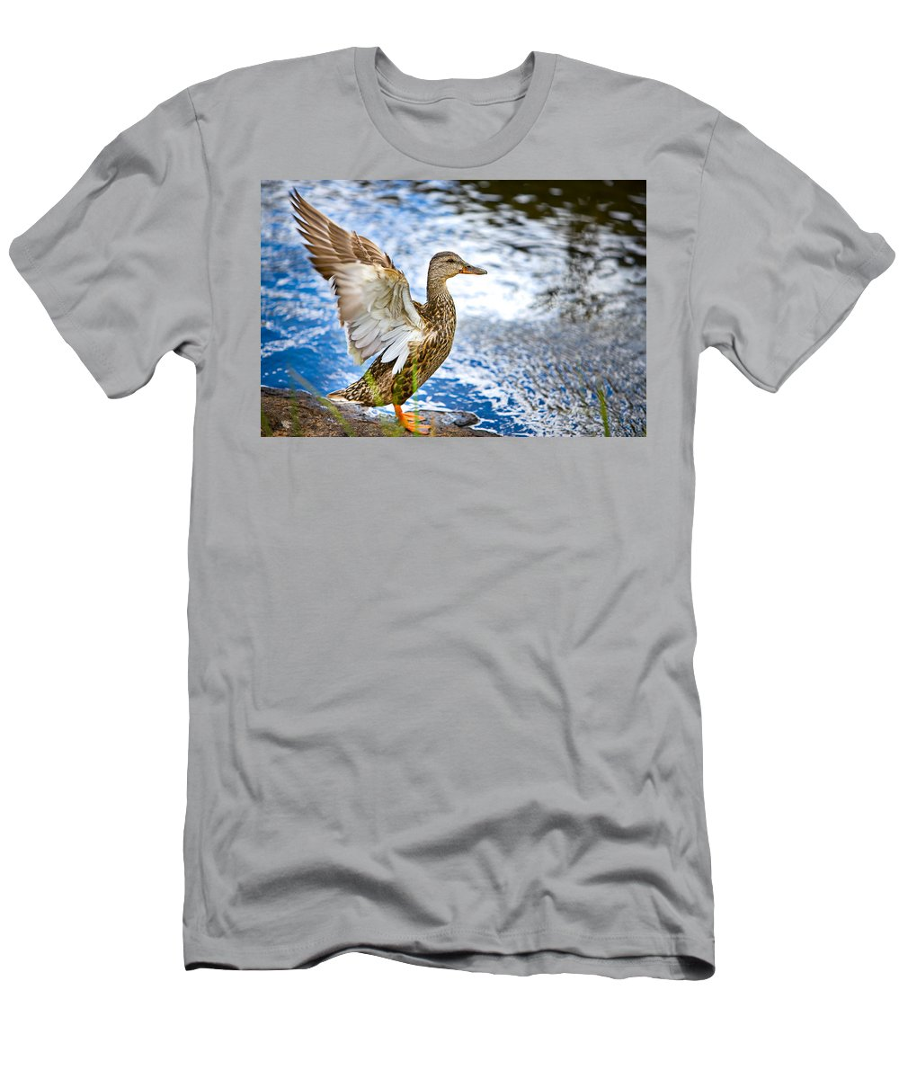 Lake Men's T-Shirt (Athletic Fit) featuring the photograph Duck by James O Thompson