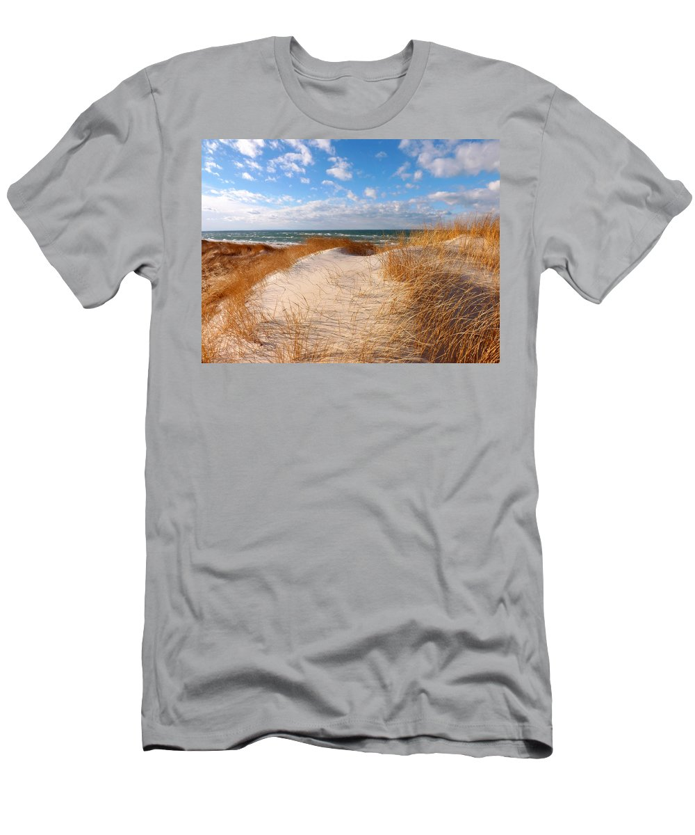Cape Cod Men's T-Shirt (Athletic Fit) featuring the photograph Dunes In Winter by Dianne Cowen