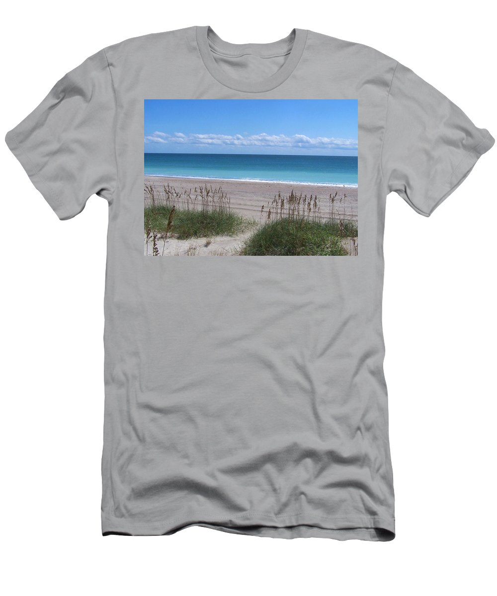 Beach Men's T-Shirt (Athletic Fit) featuring the photograph Dunes On The Outerbanks by Sandi OReilly