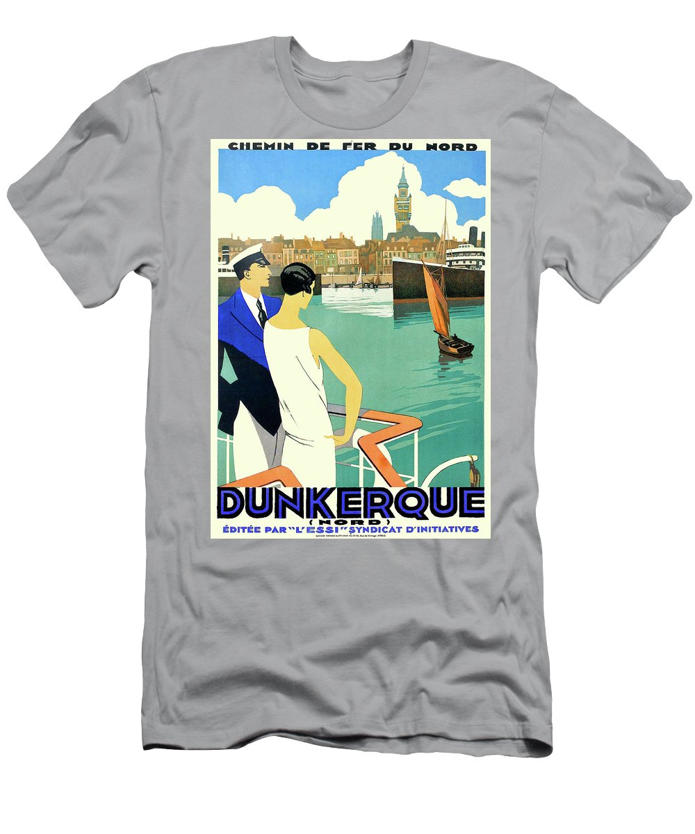 Dunkirk Men's T-Shirt (Athletic Fit) featuring the painting Dunkirk City, View From The Tourist Boat by Long Shot