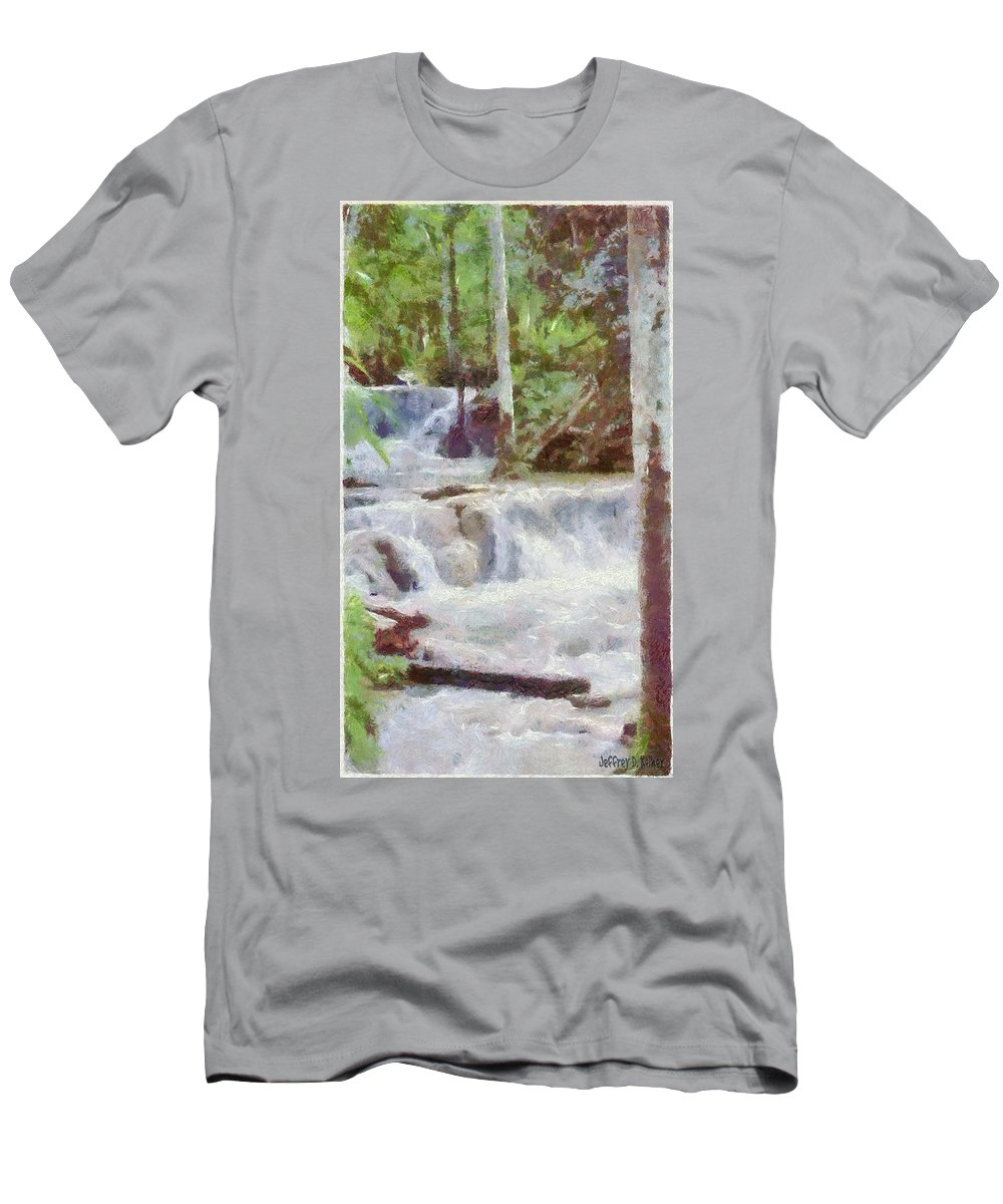Dunn River Men's T-Shirt (Athletic Fit) featuring the painting Dunn River Falls by Jeffrey Kolker