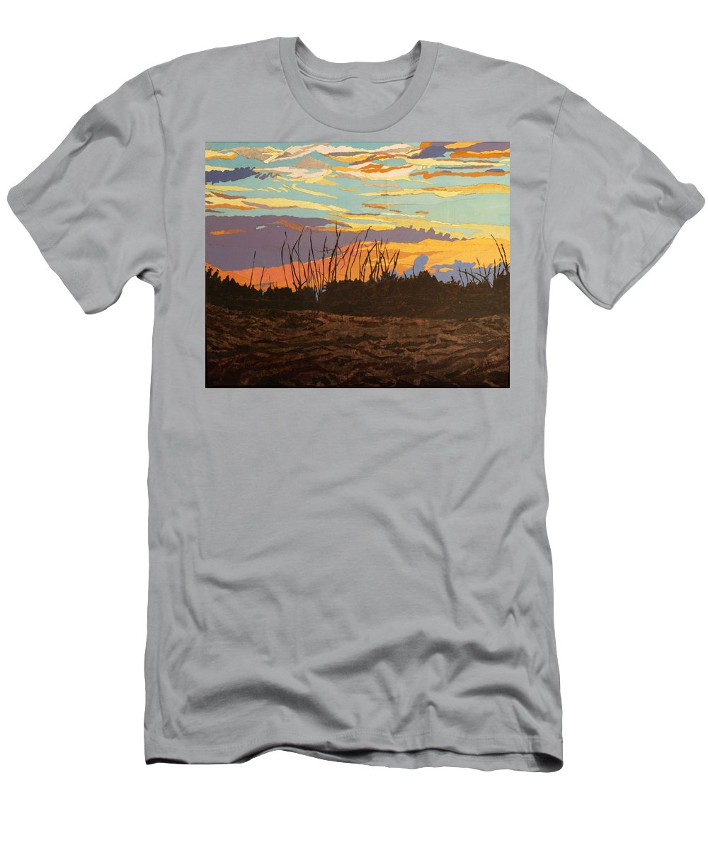 Sunset T-Shirt featuring the painting Dusk Fishing, Hutchinson Island by Leah Tomaino