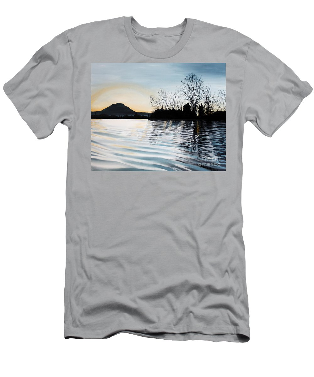 Dusk Men's T-Shirt (Athletic Fit) featuring the painting Dusk On Diablo by Elizabeth Robinette Tyndall