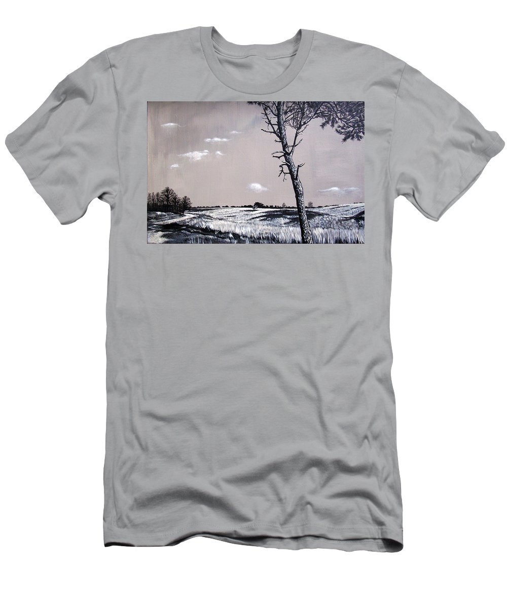 Duotone Men's T-Shirt (Athletic Fit) featuring the painting Dutch Heathland by Arie Van der Wijst