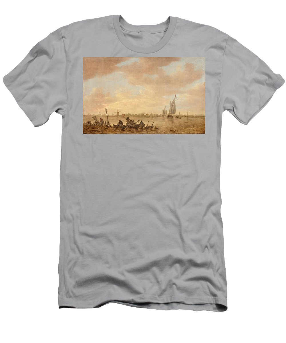 Landscape Men's T-Shirt (Athletic Fit) featuring the painting Dutch Seascape With Fishings Boats by Celestial Images