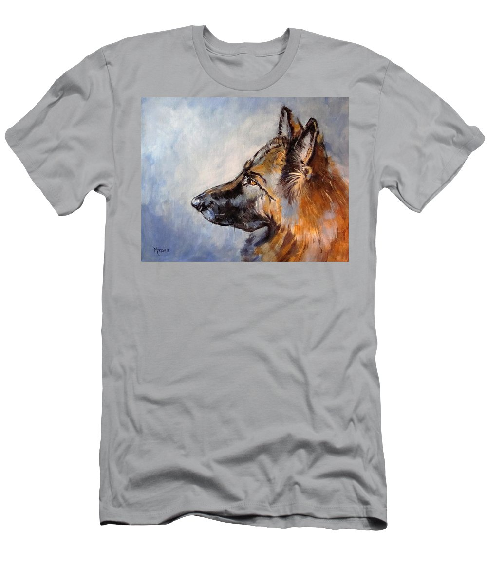 German Shepherd Men's T-Shirt (Athletic Fit) featuring the painting Dylann My Love My Angel by Cathy MONNIER