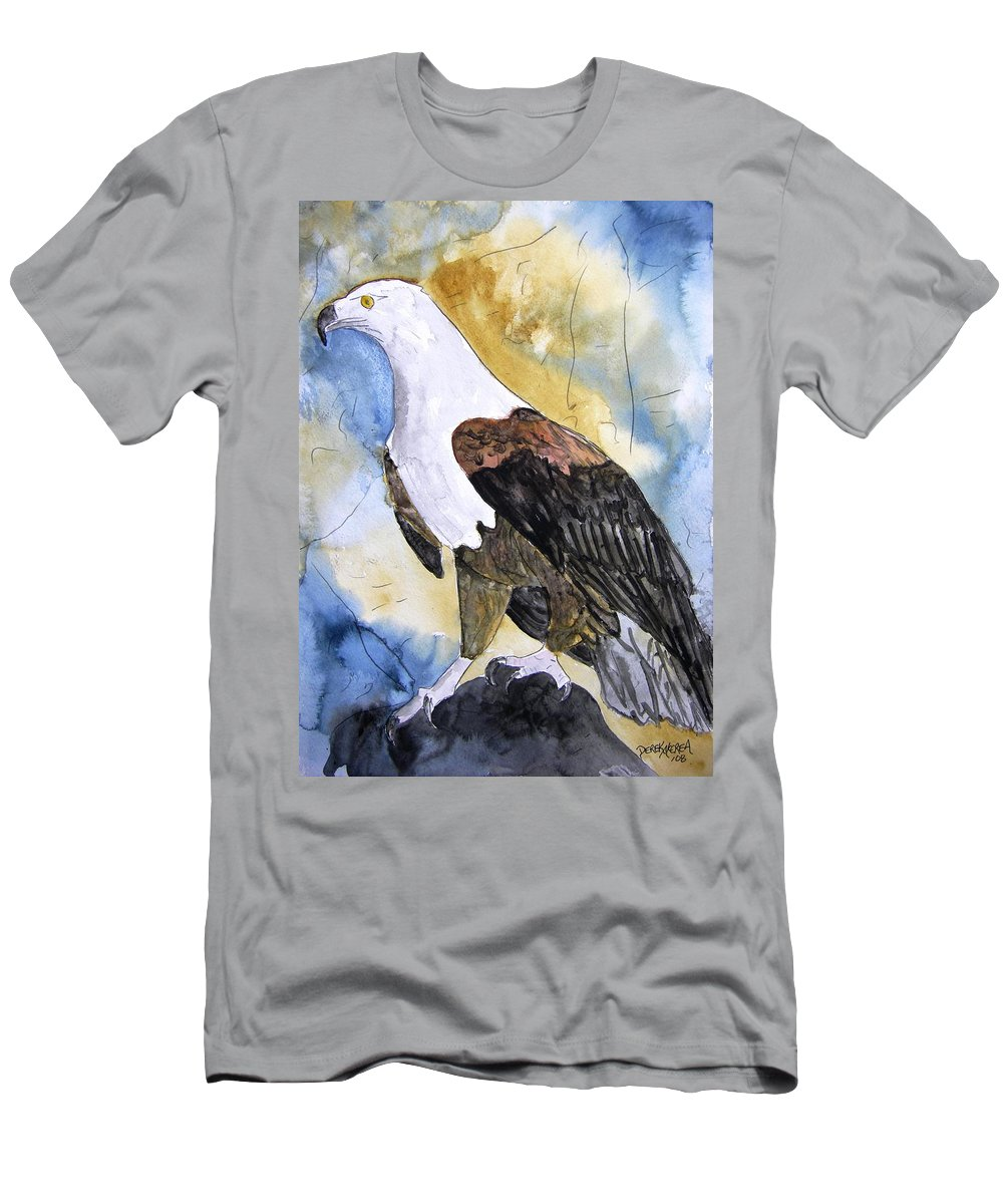 Realistic Men's T-Shirt (Athletic Fit) featuring the painting Eagle by Derek Mccrea
