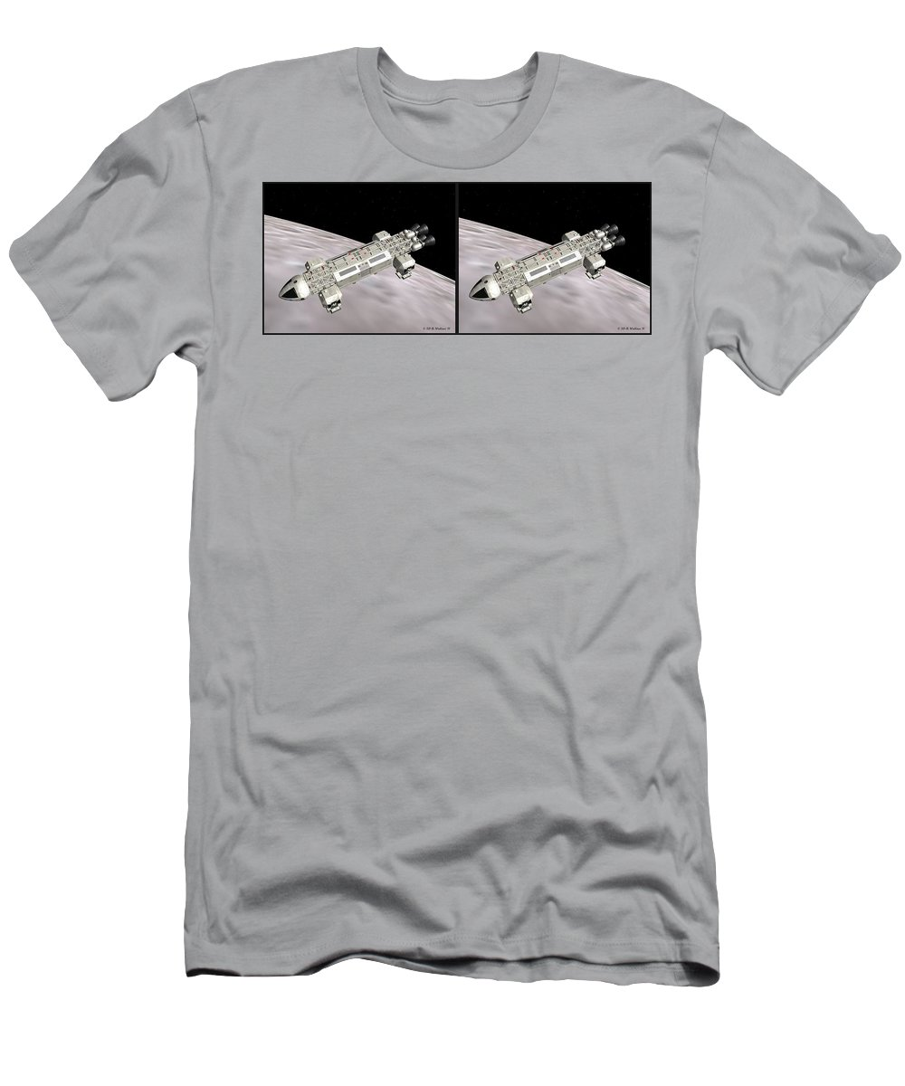 3d Men's T-Shirt (Athletic Fit) featuring the photograph Eagle Shuttle - Gently Cross Your Eyes And Focus On The Middle Image by Brian Wallace
