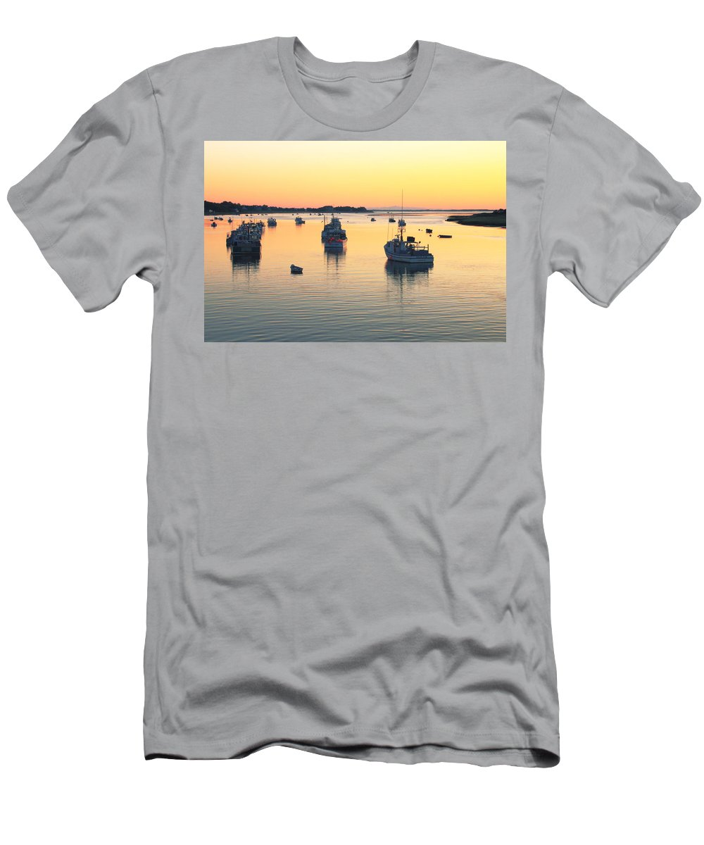 Chatham Men's T-Shirt (Athletic Fit) featuring the photograph Early Morning In Chatham Harbor by Roupen Baker