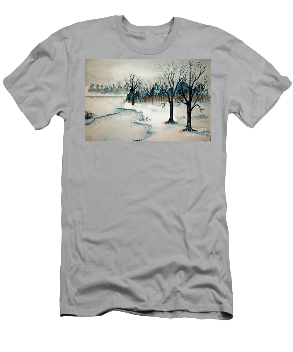 Snow Men's T-Shirt (Athletic Fit) featuring the painting Early Snow by Sandra McClure