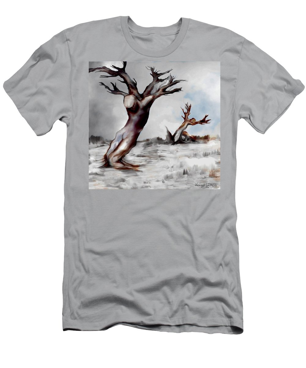 Trees Soul Nature Sky Storm Freedom Men's T-Shirt (Athletic Fit) featuring the mixed media Earthbound by Veronica Jackson