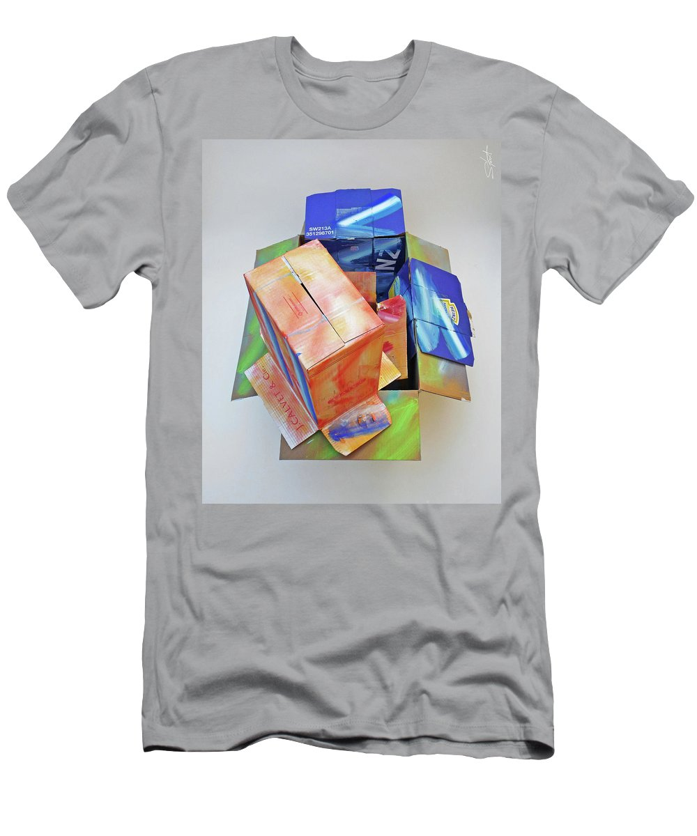 Cardboard Men's T-Shirt (Athletic Fit) featuring the mixed media Earthquake 2 by Charles Stuart