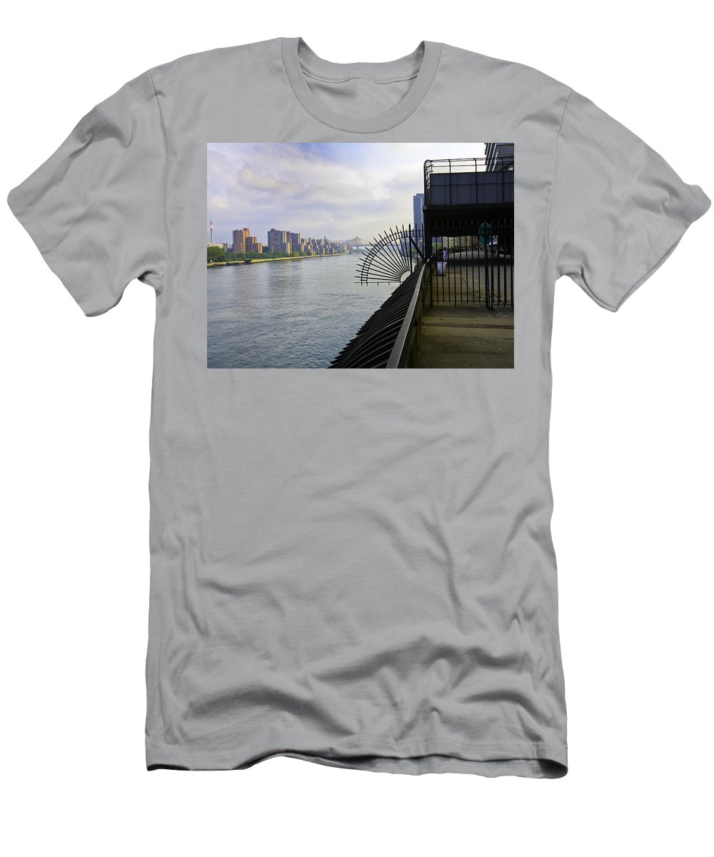 East River Men's T-Shirt (Athletic Fit) featuring the photograph East River View Looking South by Madeline Ellis