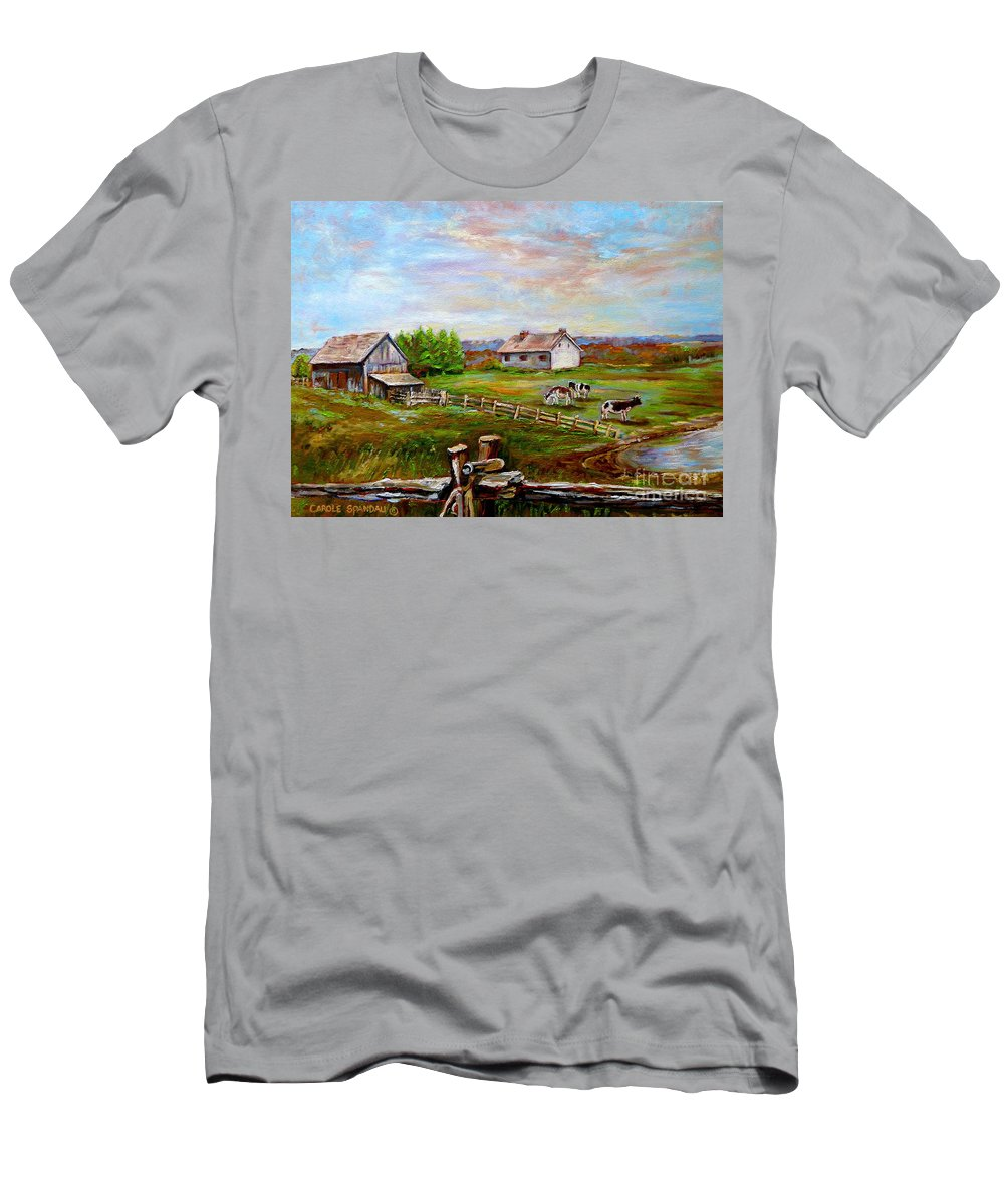 Ile D'orleans Men's T-Shirt (Athletic Fit) featuring the painting Eastern Townships Quebec Country Scene by Carole Spandau